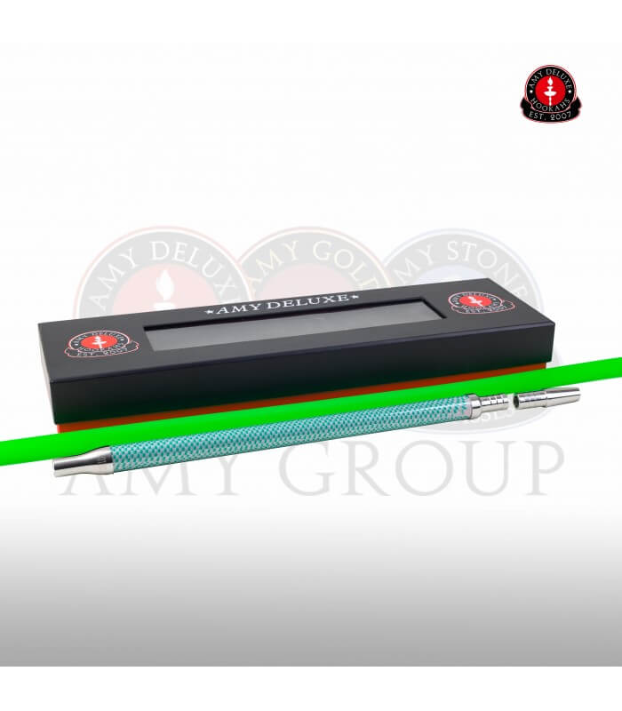 Schlauchset mit Edelstahlmundstück in Box - Carbonoptik (Grün)