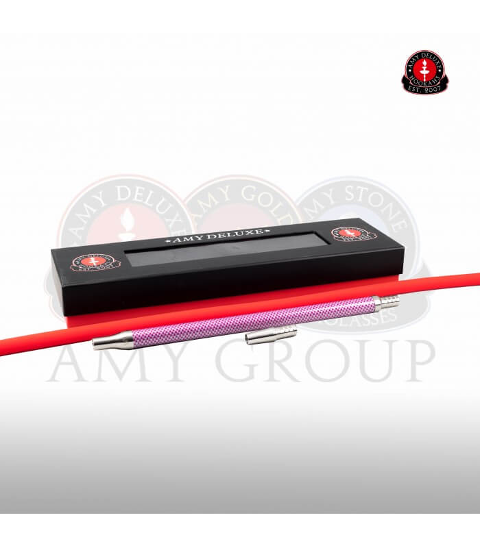 Schlauchset mit Edelstahlmundstück in Box - Carbonoptik (Rot)